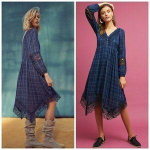 Akemi & Kin Anthro Blue Plaid Kercheif Dress 12